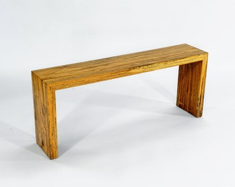 Contemporary Waterfall Table, Oak Sofa Table, Live Edge Table, Wood End Table, Wood Slab Table, Custome Wood Slab Table, Waterfall furniture