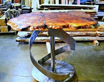 Live Edge Bar Table, Burl Bar Table, Turquoise Inlay, Wood Slab Bar Table, Cafe Table