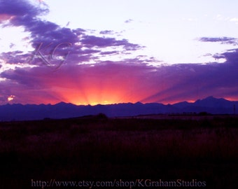 Sunset Photo RAYS of the SUN Vivid Colorado Landscape Print 8x10 Sunset Silhouette Art by K. Graham Red Orange Sun Rays Purple Mountains