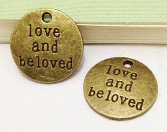 15pcs Antique Bronze Round Disc Love and Beloved Tag Charm Pendants Dove 20mm E507-3