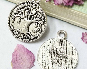 15pcs Antique Silver Tree Charm Pendant 18mm DIY Round Charms AA303-1