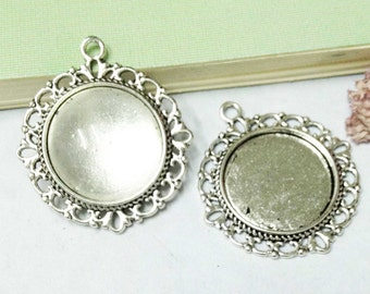 Cabochon Base Settings -10pcs Antique Silver Round Cameo Charm Pendant 20mm AA306-2