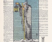 Dictionary Art Print - Upcycled Vintage Paper - The Hermit - Tarot Card Print - 7-1/4 x 10-1/2
