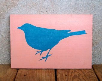Reclaimed Wood Hand Painted Blue Bird Plaque