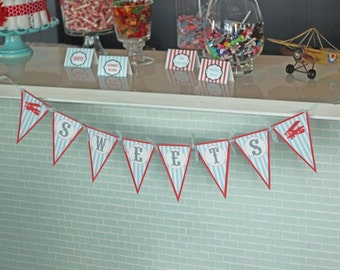 "Happy Birthday or Baby Shower ""Drinks"" ""Food"" or ""Sweets"" Pennant Banner - Pick ANY Them in My Shop"