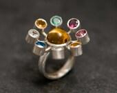 Large Multi Stone Ring - Solar System Multi Stone Ring with Emerald Tourmaline Ruby Peridot Aquamarine Topaz  - Cocktail Ring -FREE SHIPPING