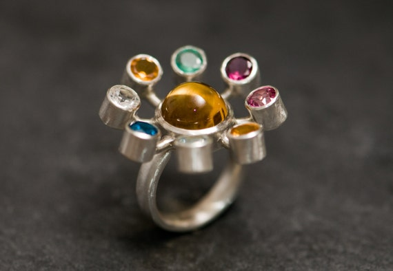 Large Cocktail Ring - Solar System Ring - Amethyst Citrine Emerald Tourmaline Ruby Peridot Aquamarine Topaz Silver Ring - Free Shipping