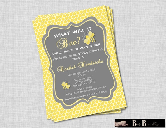 what will it bee baby shower or gender reveal invitation gray