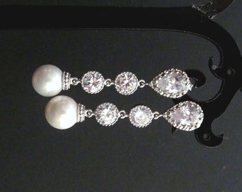 Wedding Earrings Bridal Earrings White Round Pearl Cubic Zirconia Connectors Silver Dangle Earrings