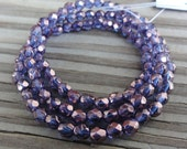 Metallic Purple Czech Firepolished Glass Faceted 4mm Beads 16 inch Full Strand - Approx 100 beads