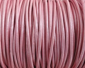 2mm Metallic Mystique Pink Genuine Leather 2mm Round Cord - 2 Yard Increments