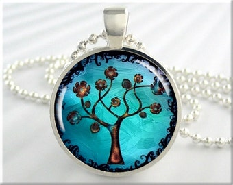 Tree Of Life Pendant, Resin Necklace, Turquoise Jewelry, Silver Art Charm, Gift Under 20, Silver Round (324RS)