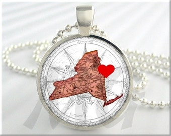 New York Necklace Resin Pendant Charm Heart I Love New York Jewelry (551RS)