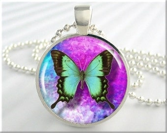 Butterfly Necklace Pendant Art Charm Turquoise Butterfly Jewelry (140RS)