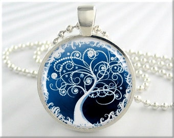 Tree Of Life Necklace, Tree Art Pendant, Blue White Accessory, Resin Pendant, Round Silver, Gift Under 20,  (597RS)