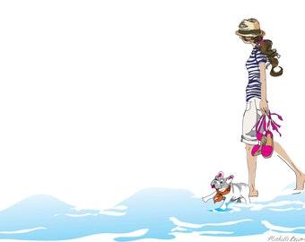 Fashion Illustration, Walk on the Beach Illustration, Whimsical Illustration, wall art