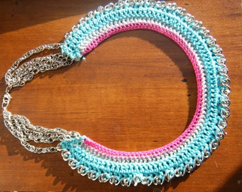 Crochet necklace with metal chains, handmade, unique