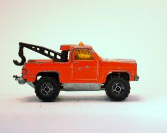 Vintage Toys, Toy Cars, Majorette,1980s Orange Tow Truck