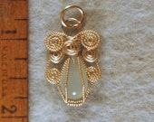 Aquamarine Angel in Argentium Sterling Silver Wire Wrapped Cage Pendant Number 3 of 500