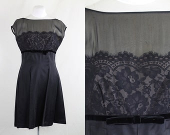 Vintage late 1950s early 1960s Ferman Ogrady / Black silk satin formal sheer top dress with lace and velvet bow/ Extra Large L XL