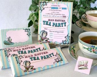 Mad Hatter Tea Alice in Wonderland Printable Party Pack Kit Instant Download