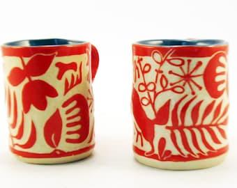 Art POTTERY Whimsical ABSTRACT Sgraffito Carved MUG Hand Built Handmade Red & White Ceramic Art, Coffee Tea Cup Mug, Modern Art