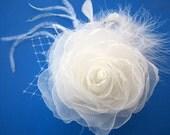 Bridal Fascinator, Wedding Fascinator, Bridal Hairpiece, Bridal Flower, Wedding Headpiece, Bridesmaid Flower, Choose Color