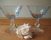 Two RARE...Blue Crystal Fostoria Wavecrest Vintage Champagne Wedding Wine Toasting Glass