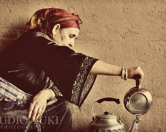 Travel Portrait, Berber Woman Pouring Tea, Fine Art Photography, Ethnic Photo, Moroccan Woman, Travel, Large Print, Wall Decor, Cream, Sand