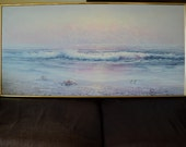 Vintage Sofa Sized Oil Painting of A beautiful Day at the The Beach  Landscape Scene at Sunrise or Sunset in Pinks, Purples and Blues
