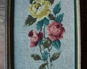 Vintage Needlepoint Sampler, A Framed Floral Still Life  Bouquet of Coral Orange and Yellow Roses, Hand Made, Signed and Dated by The Artist