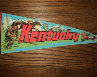 Vintage  KENTUCKY STATE PENNANT, State Souvenir Memorabilia of a  Felt Wool Flag in bright vivid neon colors