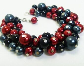 Pearl Bracelet, Red and black pearl bracelet, cluster bracelet, chunky bracelet, bridal jewelry, red chunky bracelet, wedding jewelry