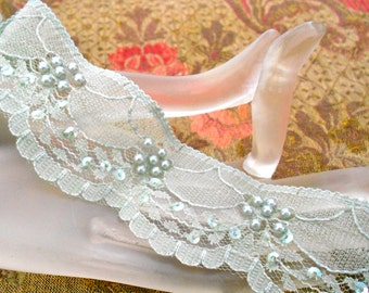 Sage Green and Pale Blue Lacey Pearl Trim
