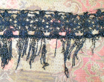 Victorian Black Beaded Fringe Trim