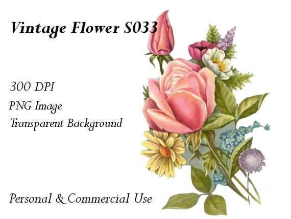 Vintage Flower Clip Art Transparent Png File S033
