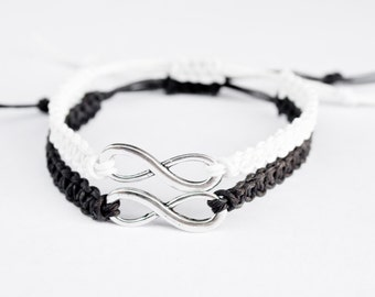 Infinity Friendship Bracelets Black and White His and Hers Jewelry