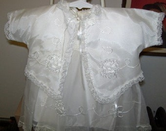 Vintage 1960s Baby Girl Christening, Baptismal, Wedding, Dress Set 4 pieces New with Tag
