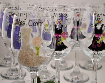 Wedding Wine Glasses Hand Painted Wedding Favors Bridesmaid Gifts for Bridal Party (15.00) EACH
