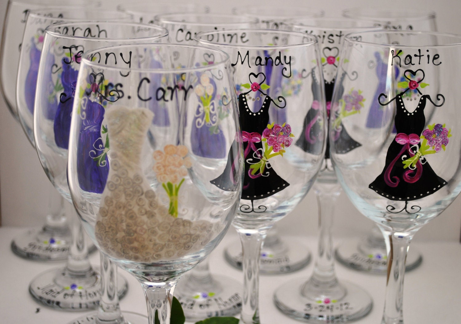 Wedding Wine Gl... Hand Painted Wine Glasses Diy