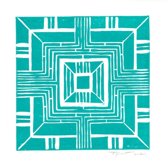 FREE SHIPPING Modern Linear Geometric Linocut Art Print / 6 x 6 Square Home Decor / Mint Green, Turquoise, Navy
