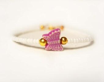 Childrens Butterfly Bracelet, Pink Butterfly, Little Girls Bracelet, Kids Jewellery UK