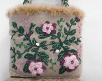 Beige Felted Purse made of Cashmere with  Pink Needle Felted Flowers