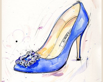 Fine art SHOE PRINT of blue Manolo Blahnik shoes painting satc Carrie A4