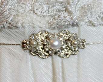 Bridal Belt Silver Sash Rhinestone Hip Belt Crystal Pearls Victorian Style Belt Wedding Victorian Dress Belt Unique Bridal Sash Silver chain