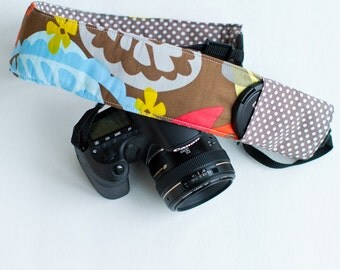 DSLR camera strap cover with lens cap pocket.  modern floral with grey dot.