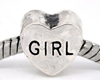 "SALE 5 Girl Beads - Antique Silver - Heart - ""GIRL"" - Charm Beads - 11x10mm - Ships IMMEDIATELY  from California - B449"