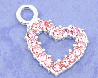 3 Pink Rhinestone Heart Charrms - Silver - 19x13mm - Ships IMMEDIATELY  from California - SC577