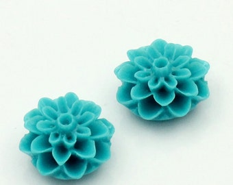 10 Flower Cabochons - Turquoise - 16x8mm - Ships IMMEDIATELY from California - C85