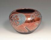 Contemporary Fine Art Raku Pottery Vase by John Turner